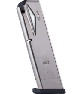 CARGADOR DE BERETTA 92F DE 15 RD. NICKEL 9MM.