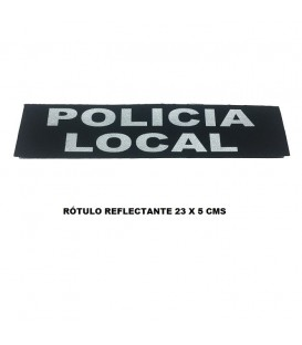 PARCHE ROTULO REFLECTANTE CON VELCRO POLICIA LOCAL, 23 X 5 CMS