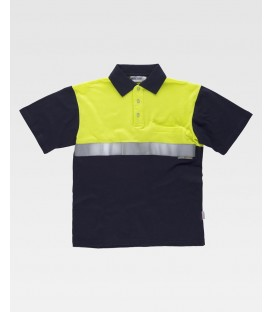 POLO WORK TEAM FLUOR MARINO/AMARILLO