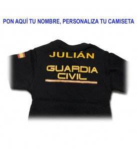 CAMISETA GUARDIA CIVIL DE ALGODON COLOR NEGRO TALLA NIÑOS PERSONALIZADA