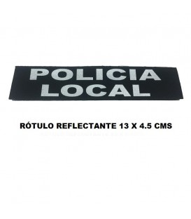 ROTULO REFLECTANTE CON VELCRO 13 X 4.5 CMS. POLICIA LOCAL