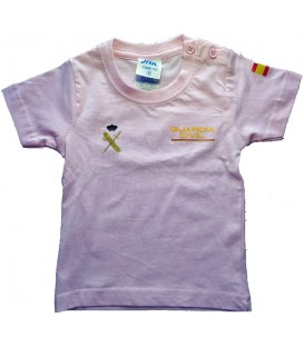 CAMISETA GUARDIA CIVIL DE ALGODON COLOR ROSA TALLA NIÑOS