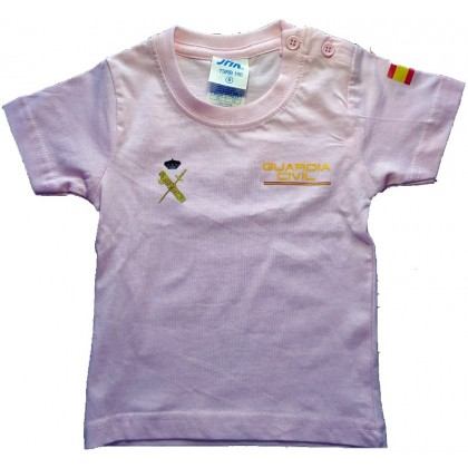 CAMISETA GUARDIA CIVIL DE ALGODON COLOR ROSATALLA NIÑOS