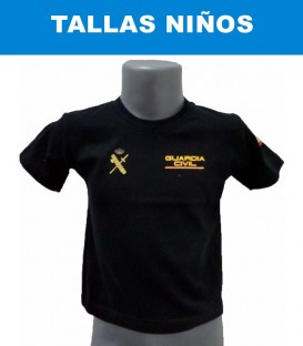 CAMISETA GUARDIA CIVIL DE ALGODON COLOR NEGRO TALLA NIÑOS