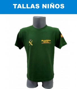 CAMISETA GUARDIA CIVIL DE ALGODÓN COLOR VERDE TALLA NIÑOS