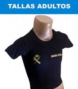 LIQUIDACION. CAMISETA  GUARDIA CIVIL ADULTO M/C NEGRA  ALGODON