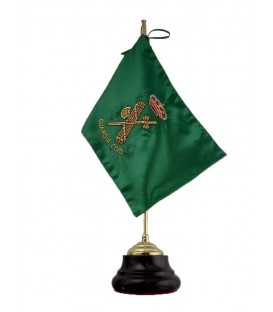 BANDERA BORDADA CON PEANA DE MESA, ESCUDO GUARDIA CIVIL